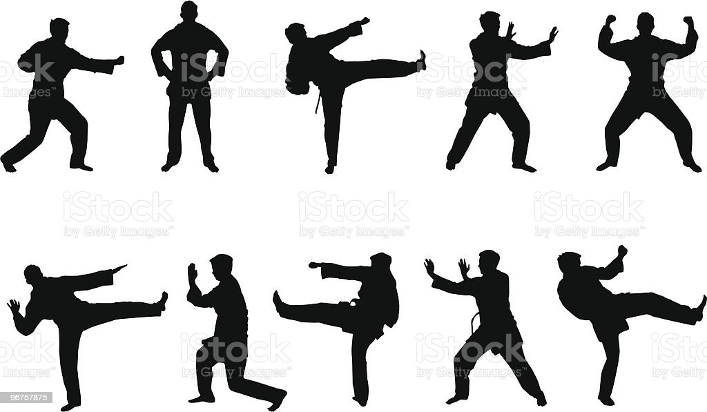 Martial Arts Silhouettes Stock Vector Art & More Images of