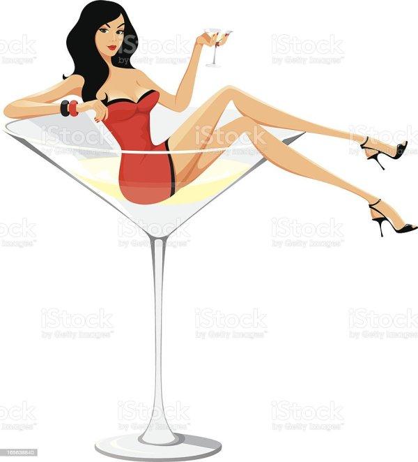 Cartoon Girl Sitting in Martini Glass