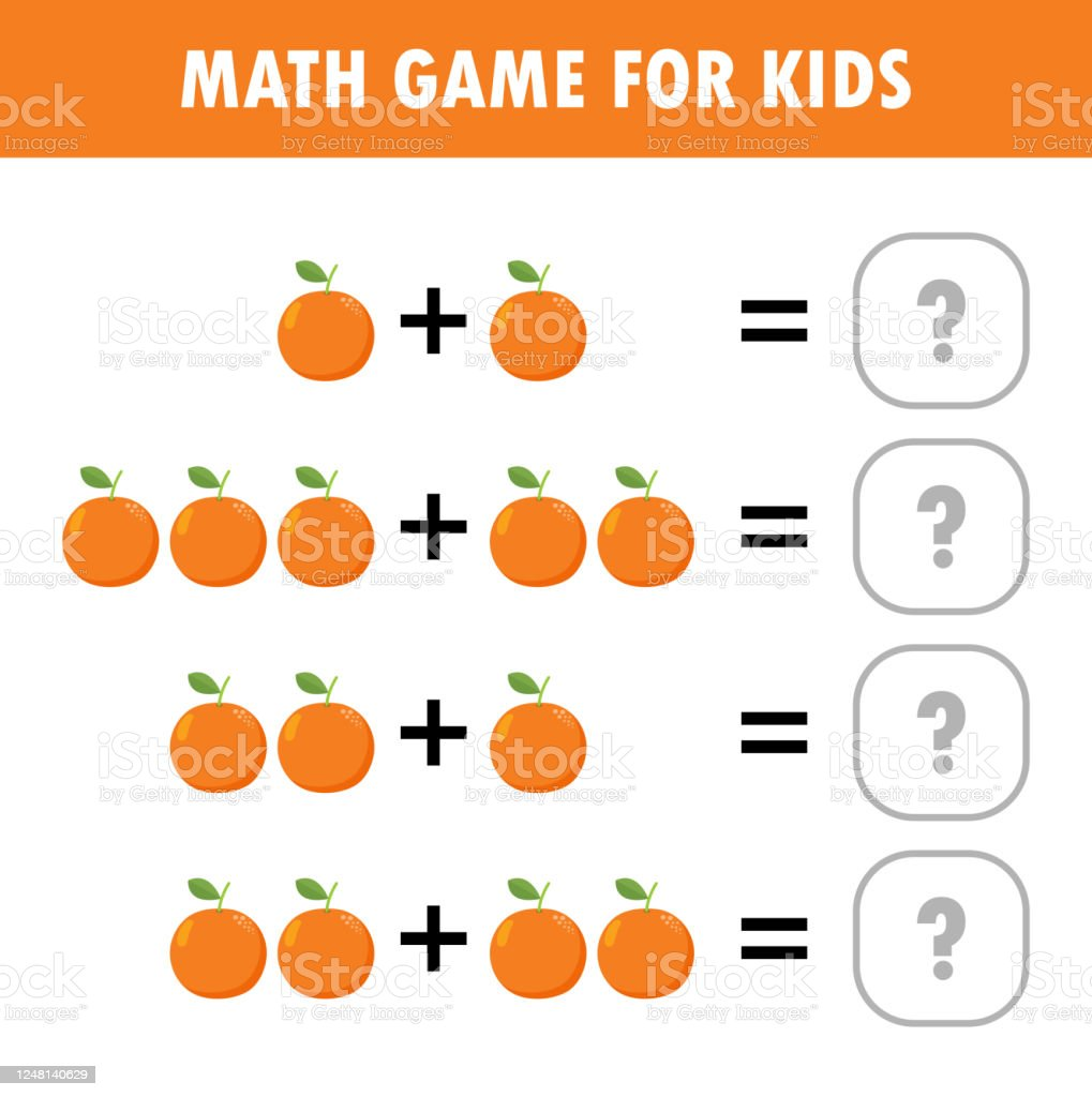 hight resolution of Mathematics Educational Game For Children Learning Counting Addition  Worksheet For Kids Math Addition Subtraction Puzzle Fruit Orange Trick  Question Solve Flat Vector Illustration Stock Illustration - Download Image  Now - iStock