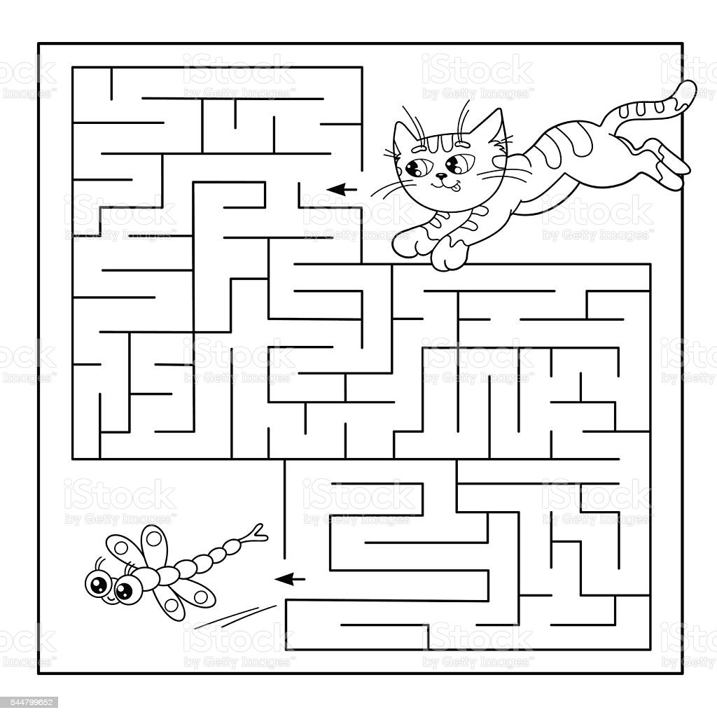 Maze Or Labyrinth Game For Preschool Children Puzzle Stock