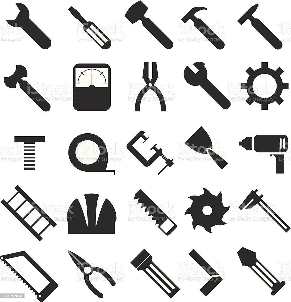 Mechanical Equipment Icons Set Stock Illustration