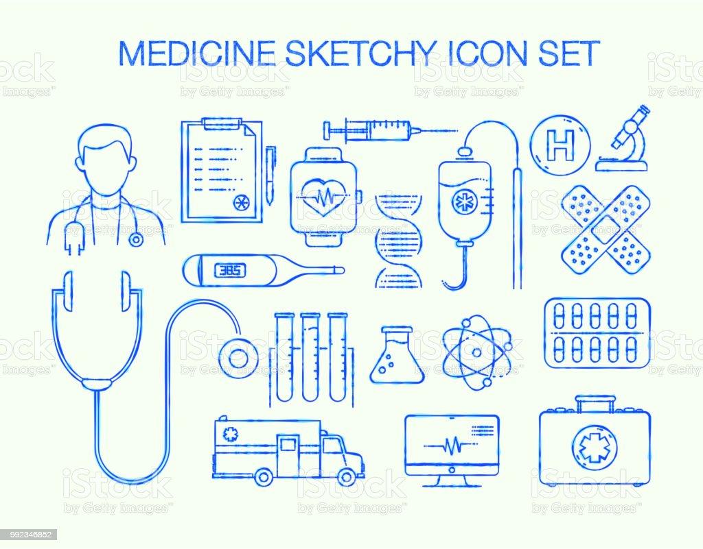 medical sketchy line icon