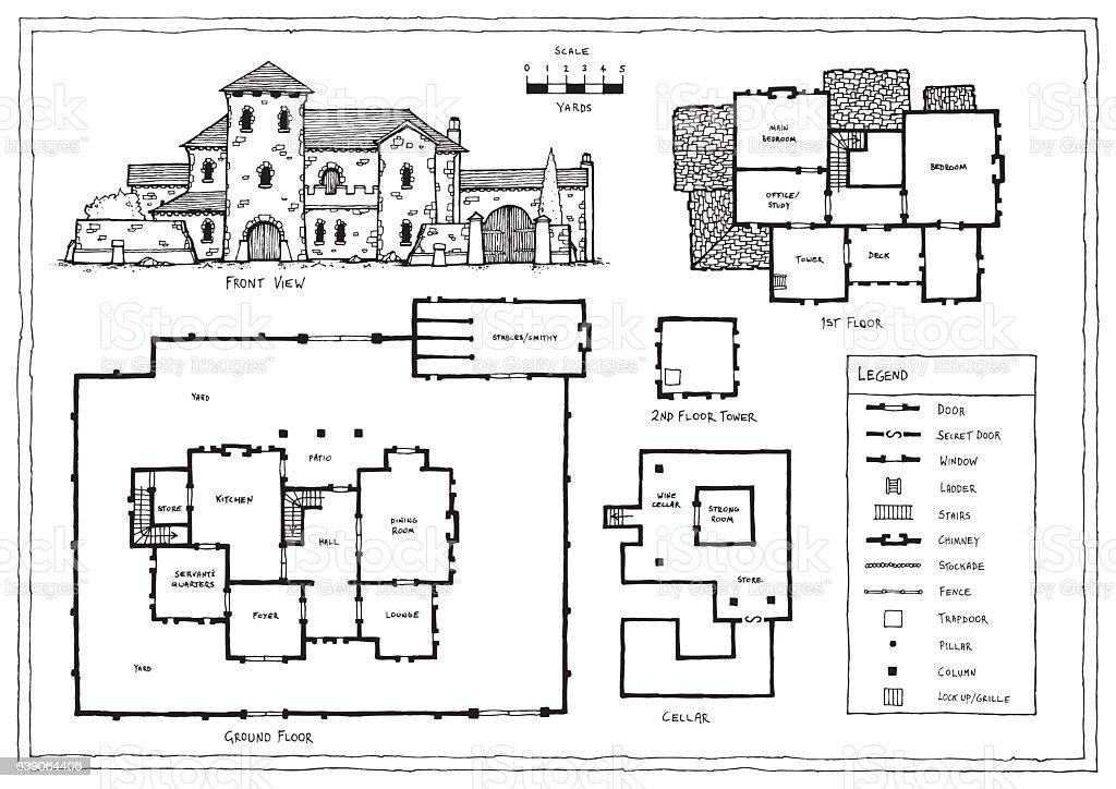 Medieval Italian Or Spanish Villa Plan Stock Illustration