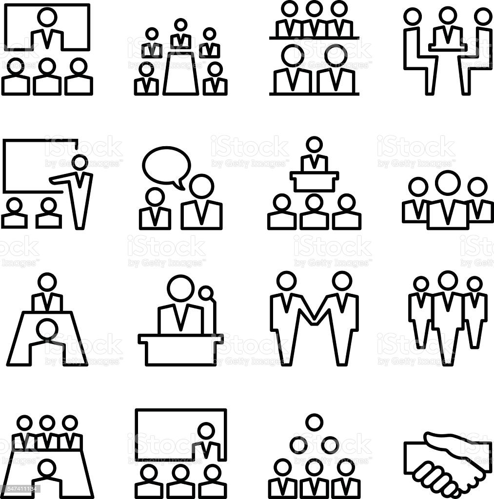 Meeting Conference Line Icon Set Stock Vector Art & More