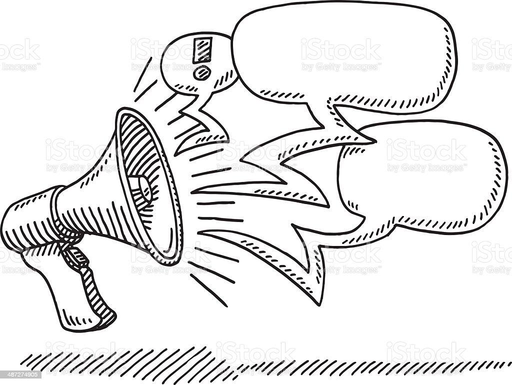 Megaphone Message Speech Bubbles Drawing Stock Vector Art