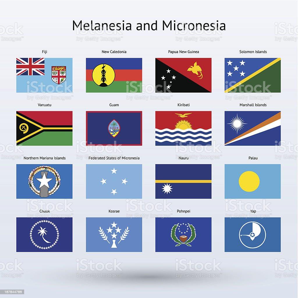Melanesia And Micronesia Flags Collection Stock Vector Art
