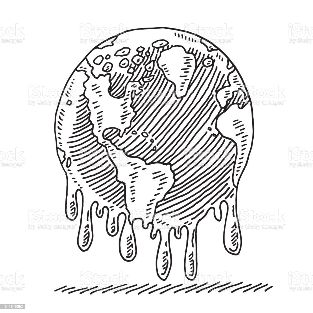Melting Planet Earth Drawing stock vector art 641349582