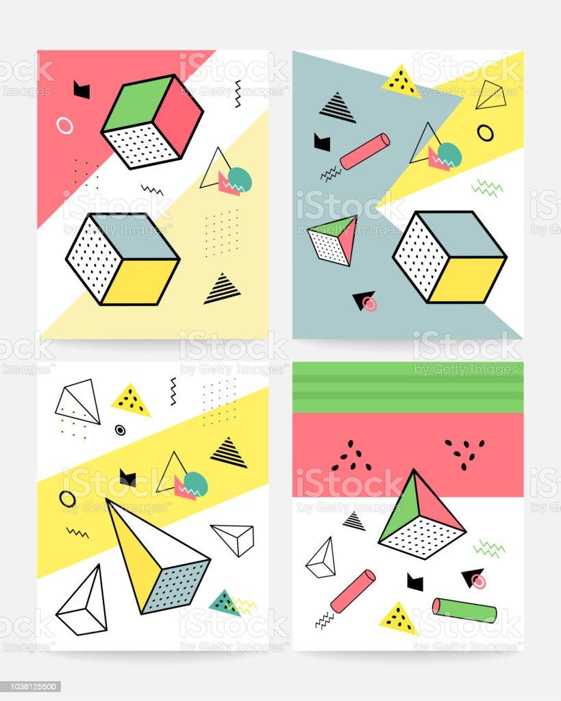 memphis style cards design