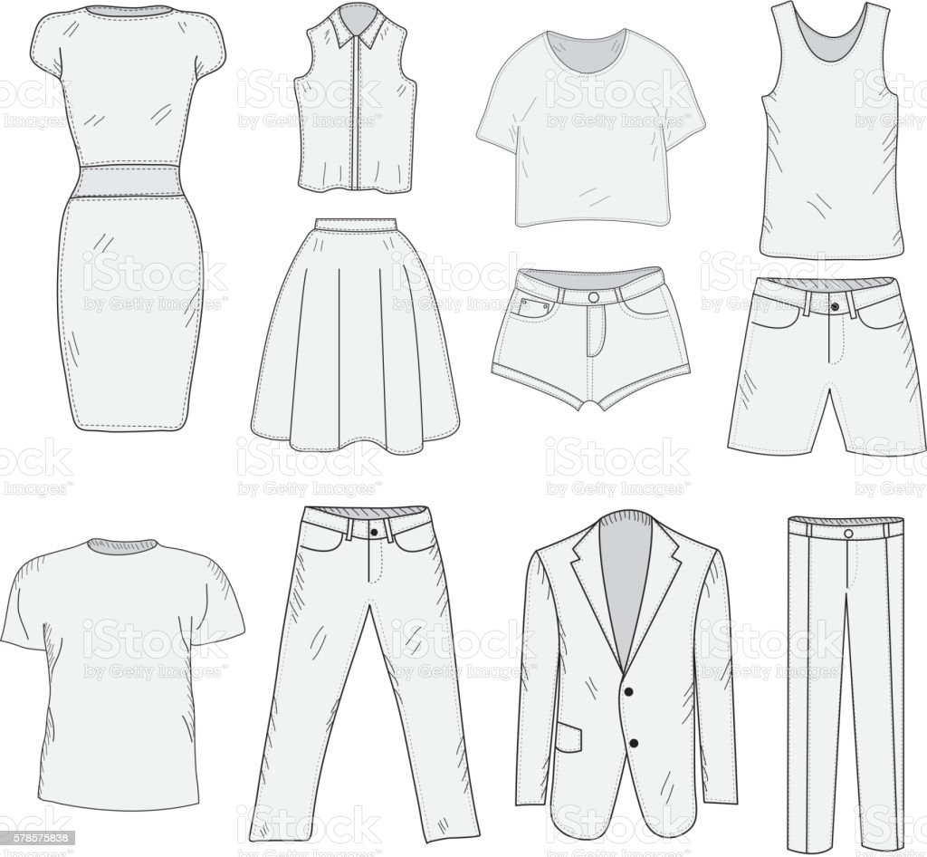 Mens And Womens Clothing Set Sketch Clothes Handdrawing