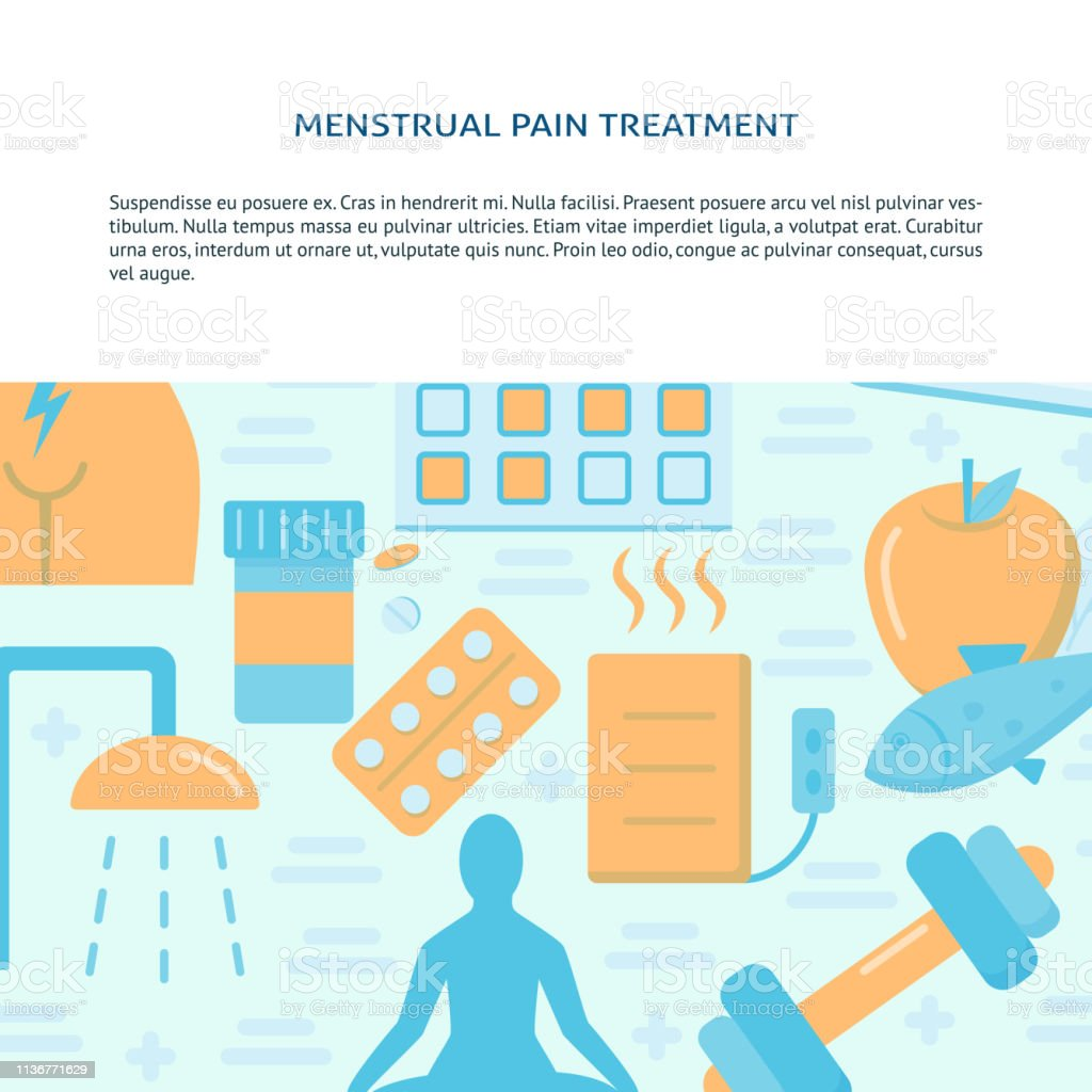 hight resolution of menstruation pain treatment concept banner in flat style illustration