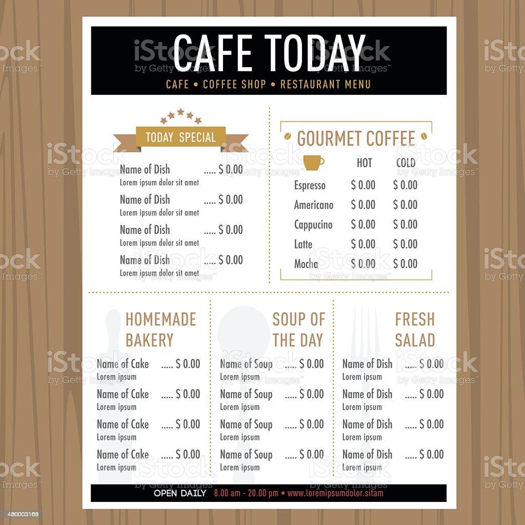 Menu Design Template Layout Cafe Restaurant Hipster Style