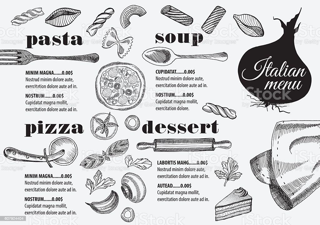 Menu Italian Restaurant Food Template Placemat 고풍스런에 대한 스톡