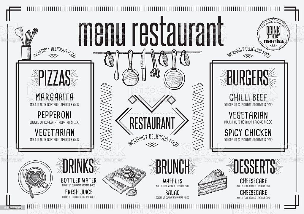 Menu Restaurant Food Template Placemat Stock Illustration