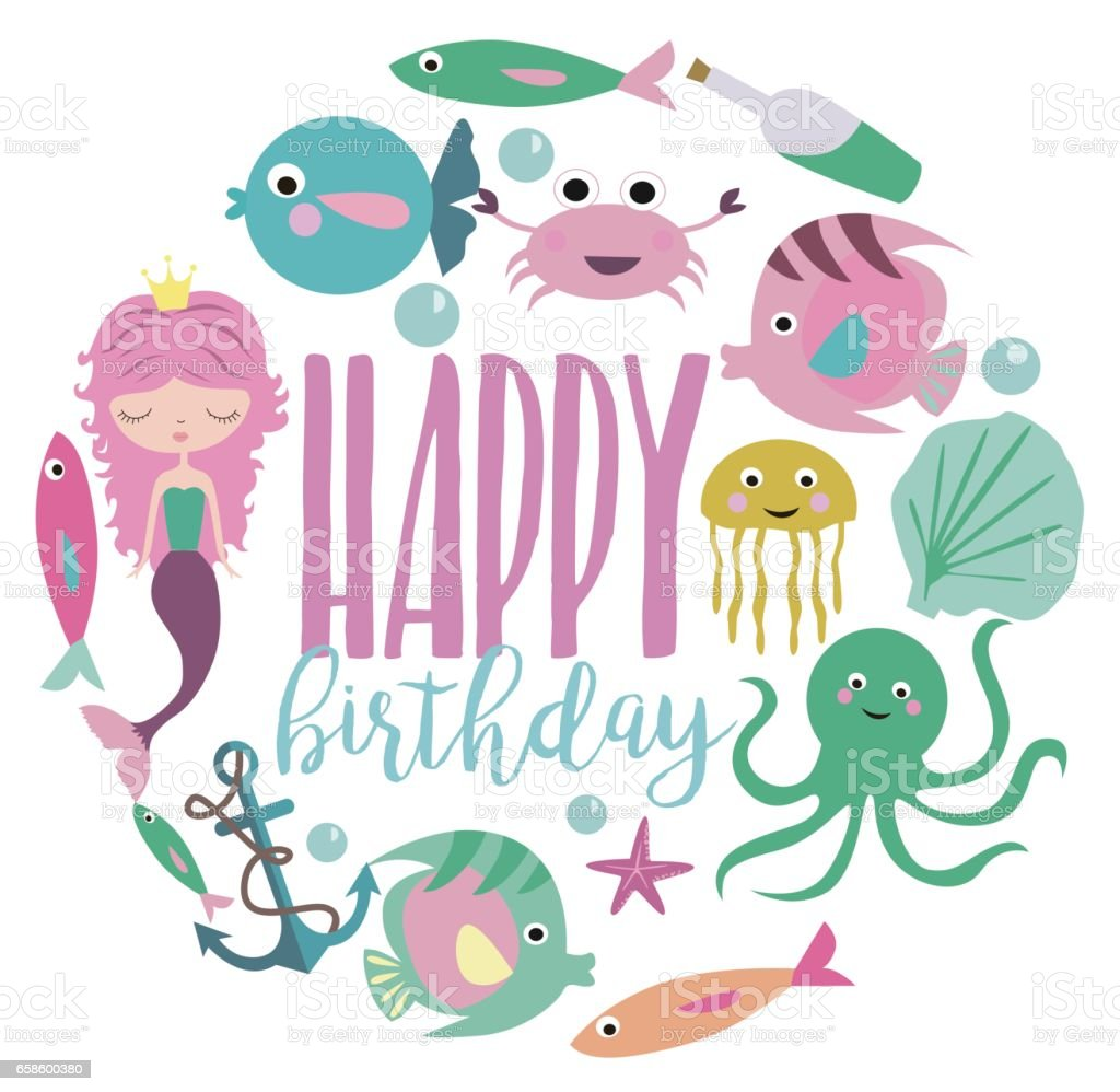 mermaid birthday party card stock illustration download image now istock