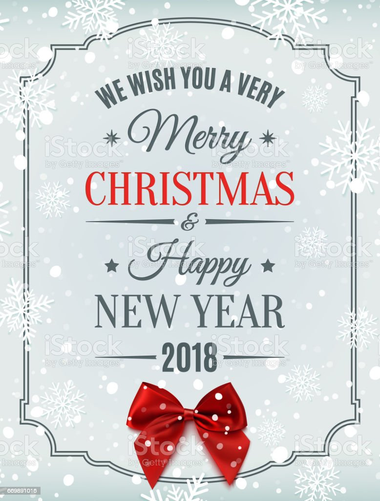 Merry Christmas And Happy New Year 2018 Card Stock Vector