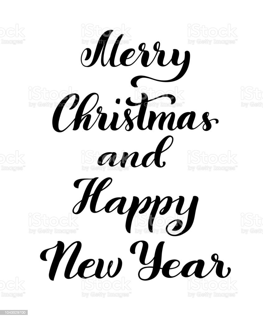 Merry Christmas And Happy New Year Modern Calligraphy