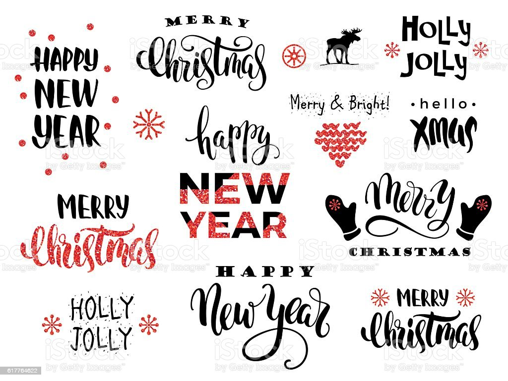 Merry Christmas And Happy New Year Vector Lettering