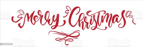 merry christmas red vintage calligraphy