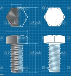 metal hex bolt vector 3d illustration and flat white icon on blueprint background illustration  [ 1024 x 1024 Pixel ]