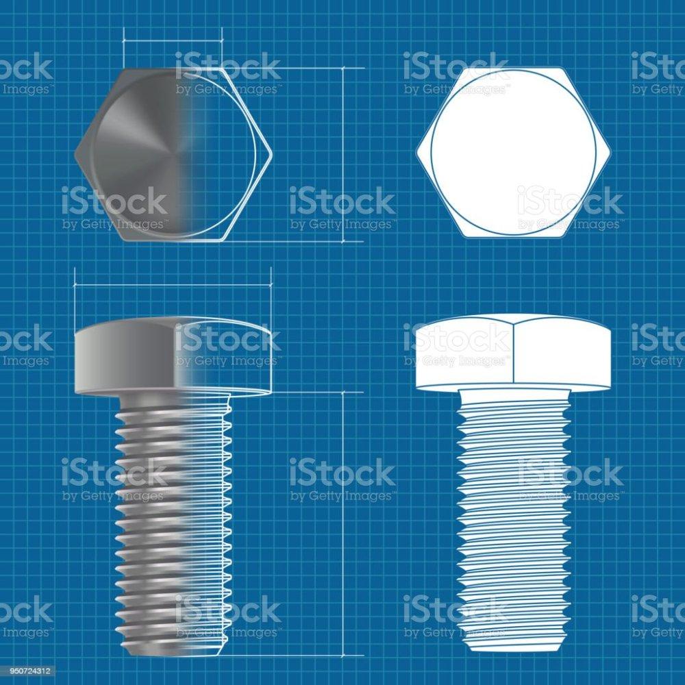 medium resolution of metal hex bolt vector 3d illustration and flat white icon on blueprint background illustration