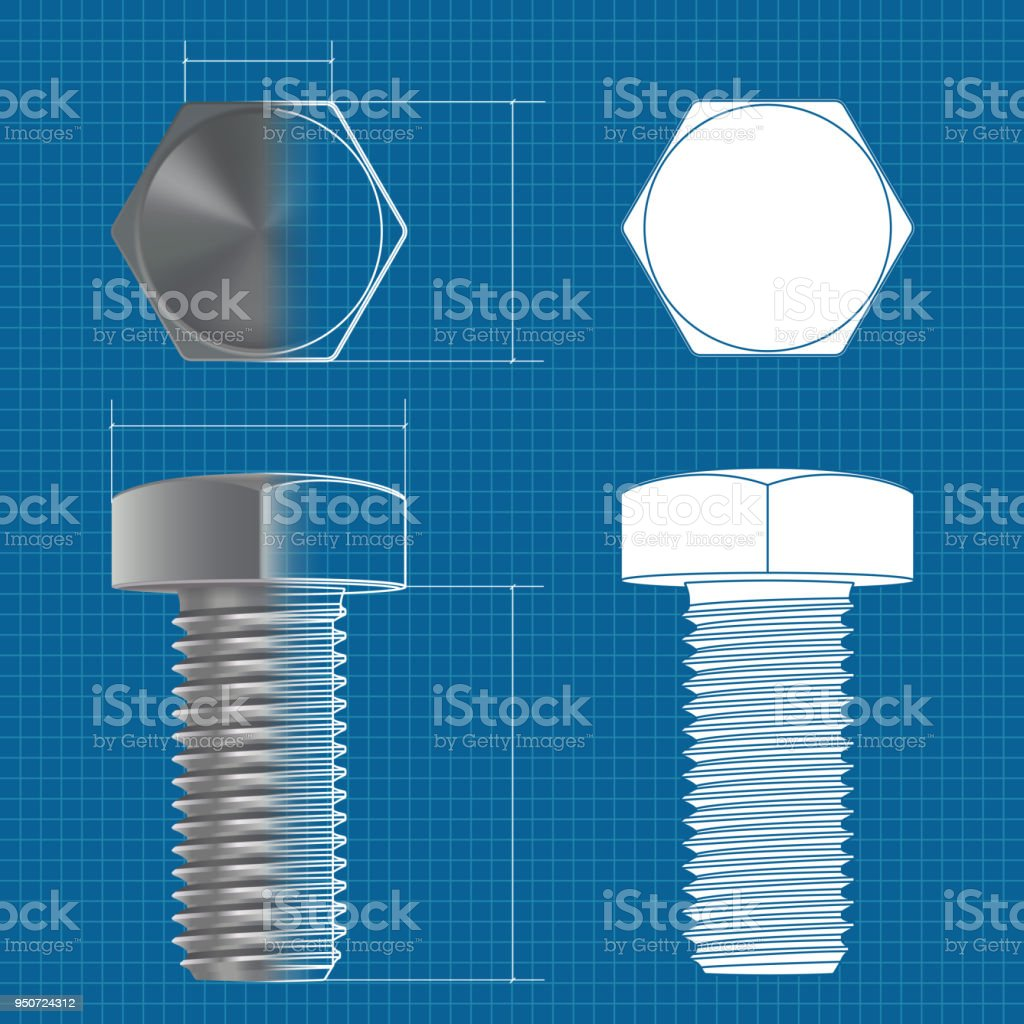 hight resolution of metal hex bolt vector 3d illustration and flat white icon on blueprint background illustration