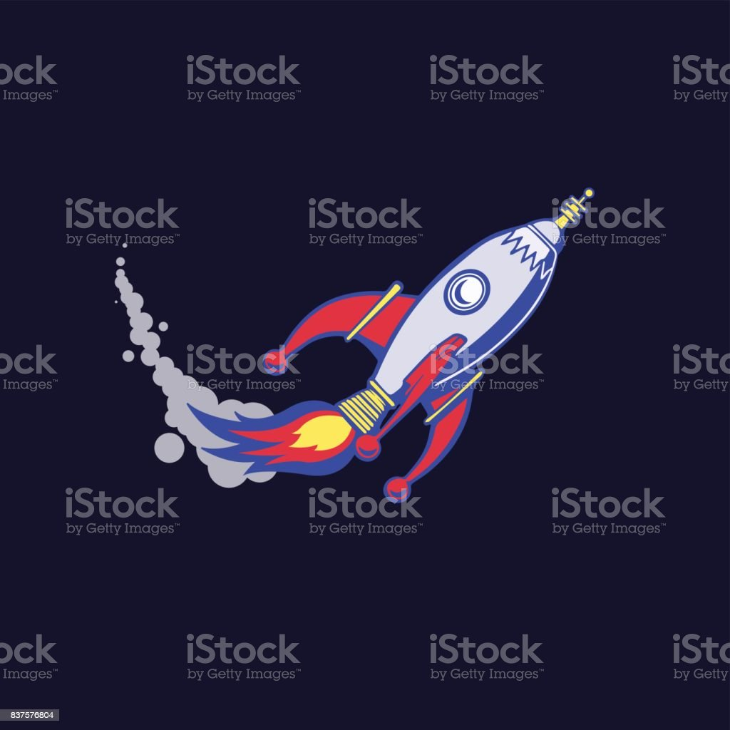 hight resolution of metallic spaceship that takes off on a dark blue background poster icon clipart