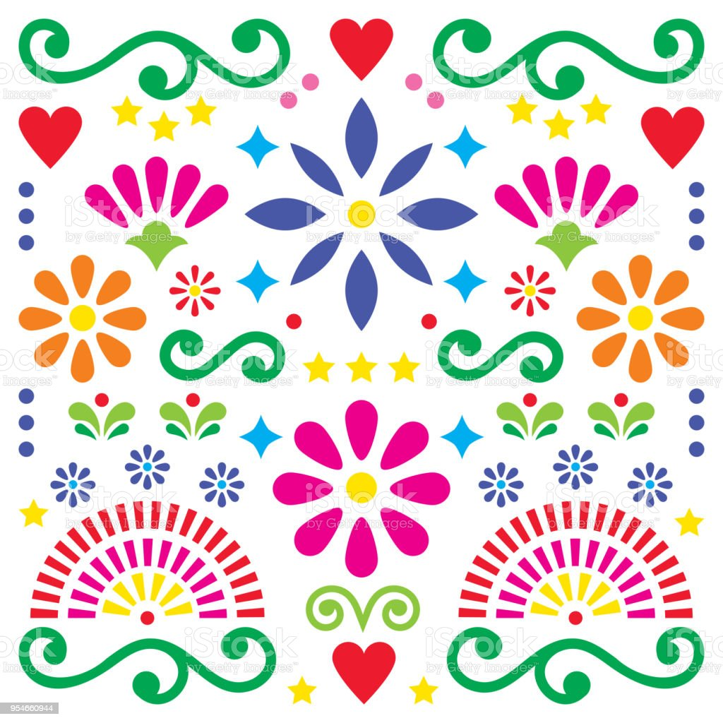 Mexican Folk Art Vector Pattern Colorful Design With