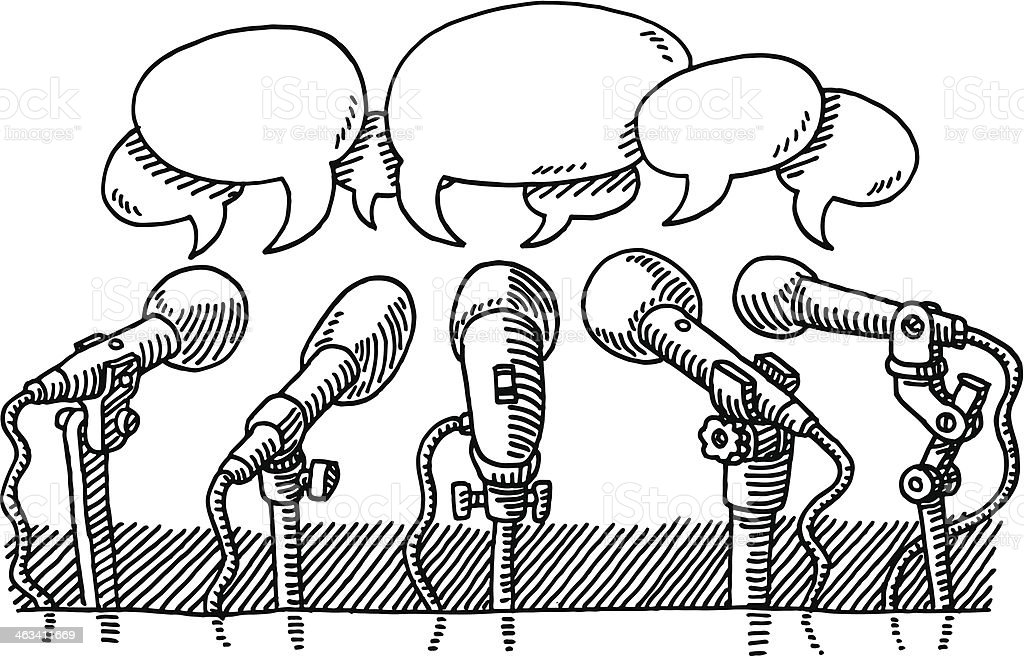 Microphones Press Speech Bubbles Drawing Stock Vector Art