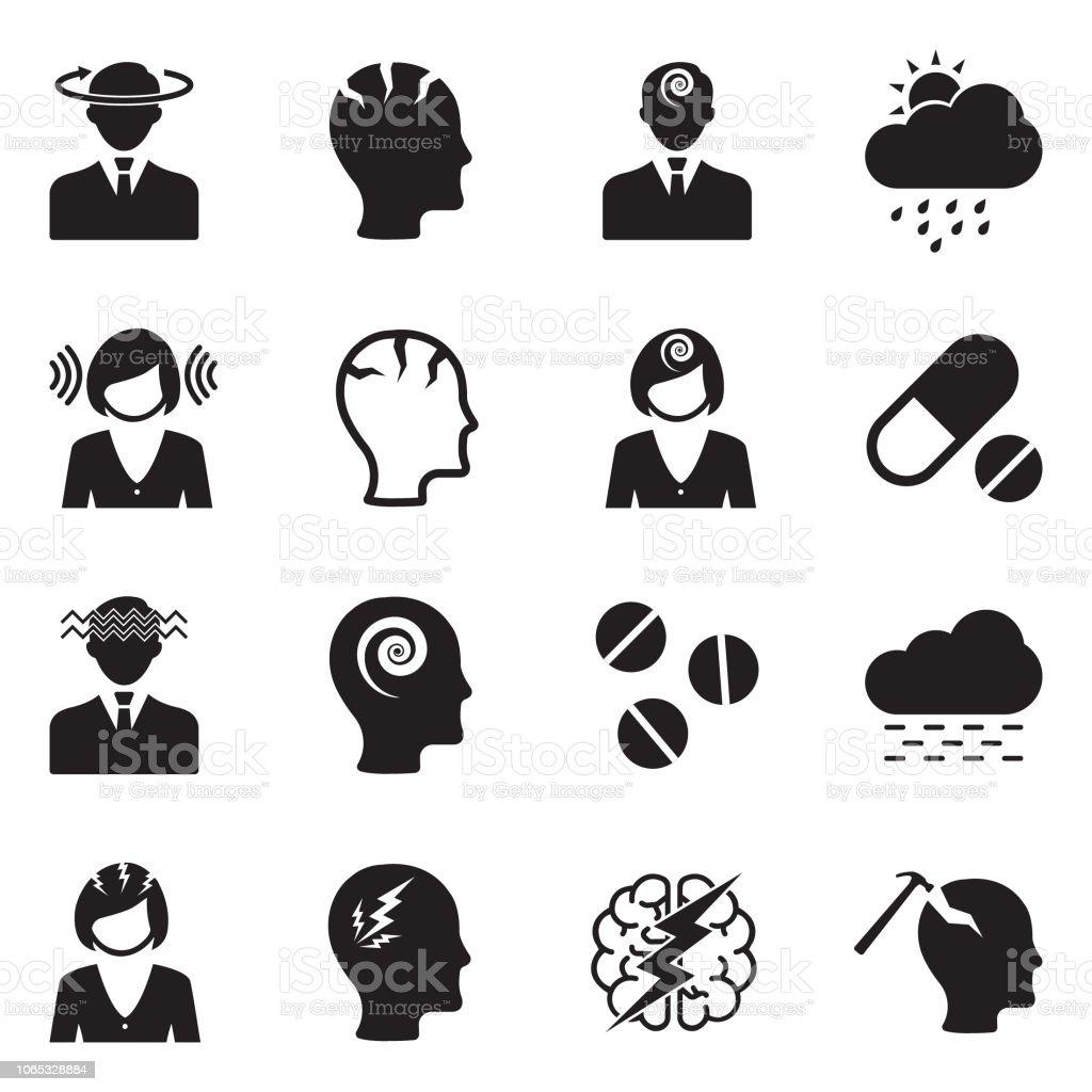 Migraine And Headache Icons Black Flat Design Vector