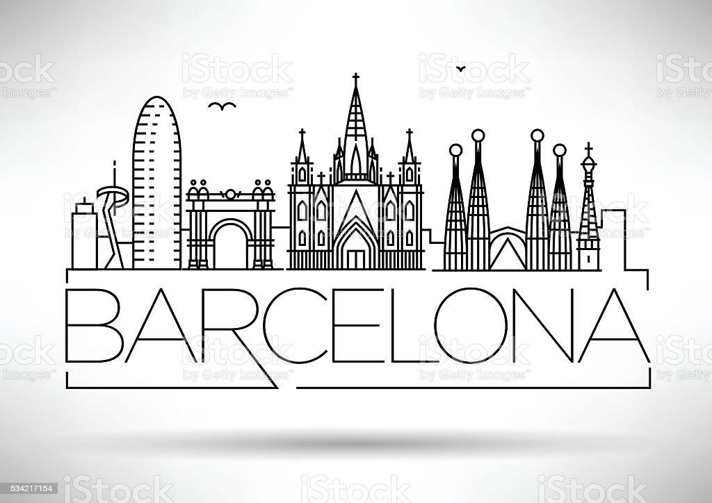 Minimo Barcellona Citt Skyline Con Disegno Lineare Tipografici  Immagini vettoriali stock e
