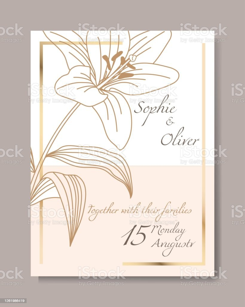 minimalist wedding invitation card template design vector floral brown line art drawing on light grey with gold frame stock illustration download image now istock