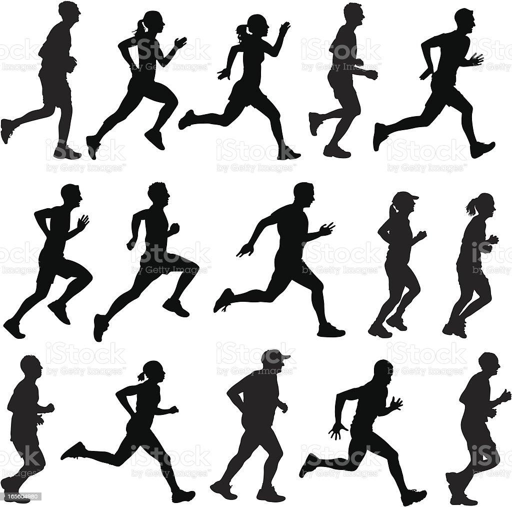 Gemischte Läufer In Silhouette Profile Stock Vektor Art
