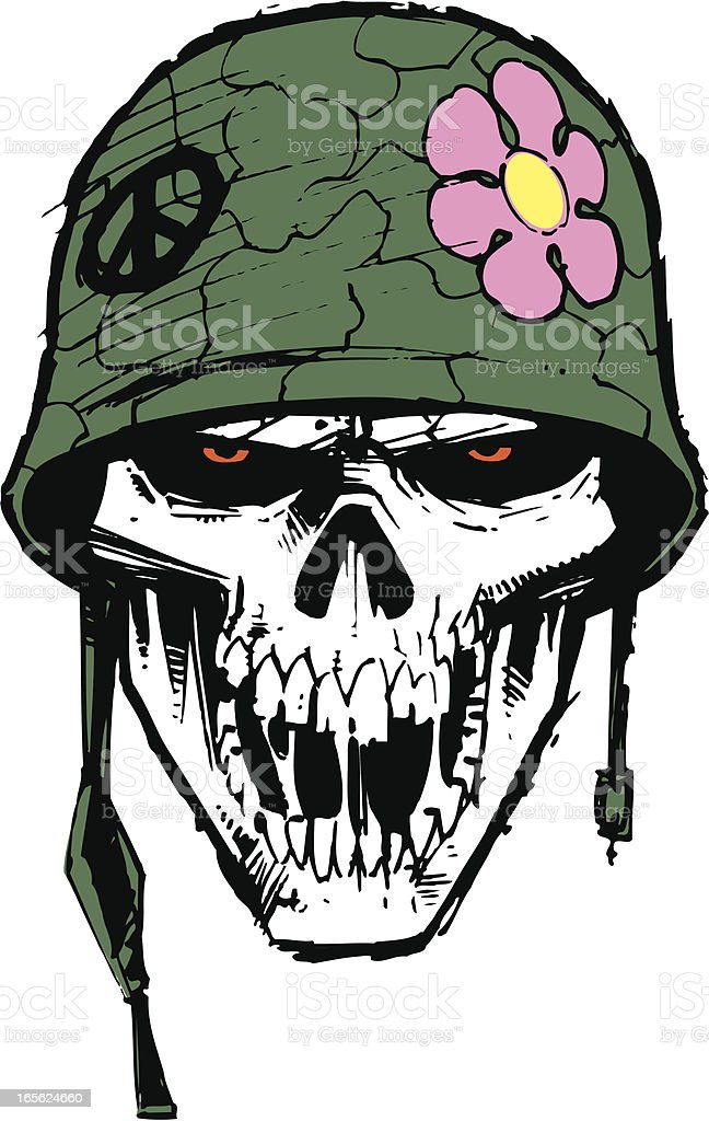 Colc 3d Wallpapers Mlitary Army Skull With Helmet And Flower Stock Vector Art