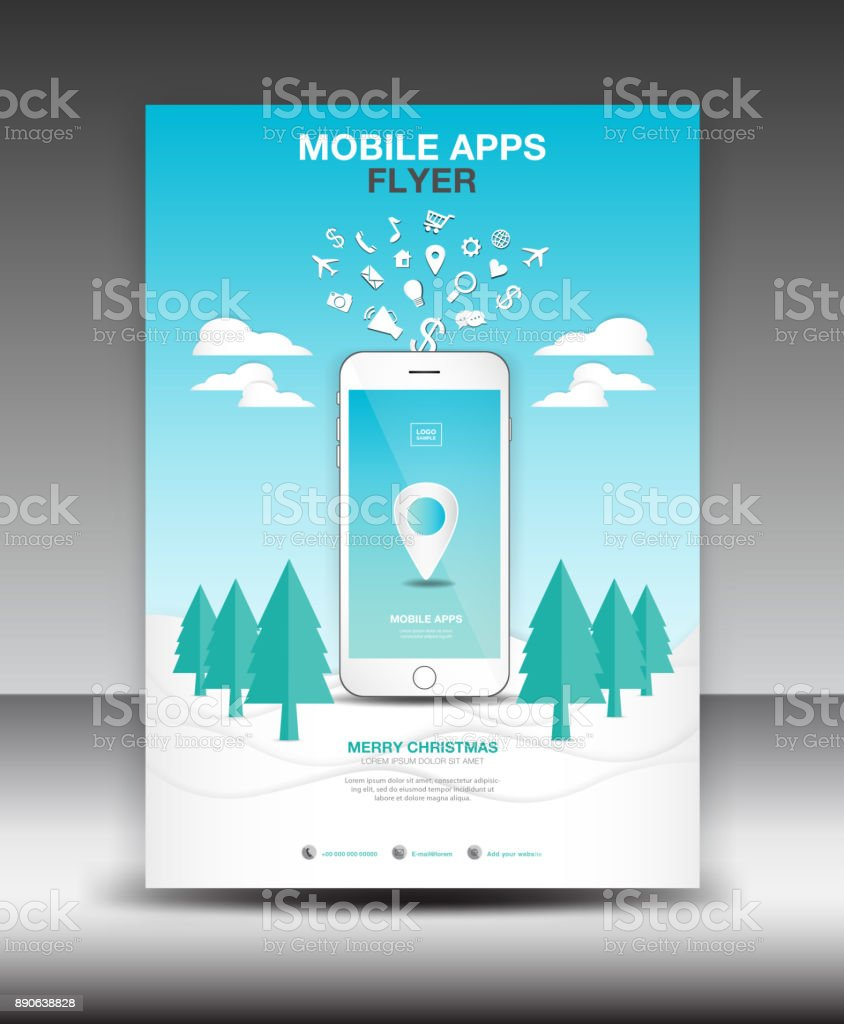 Mobile Apps Flyer Template Winter Landscape Background Business ...