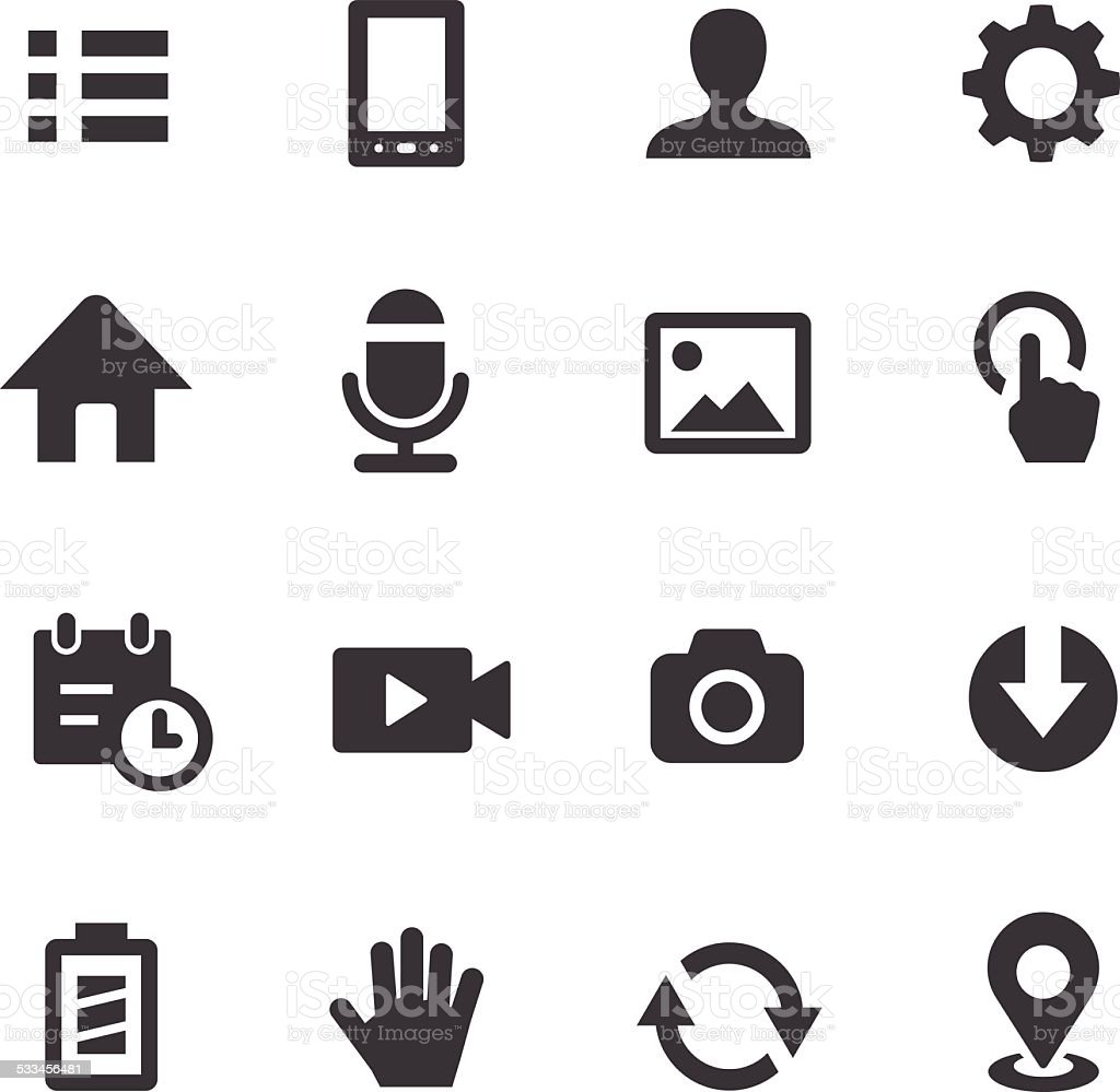 Mobile Control Icons Set Acme Series Stock Vector Art