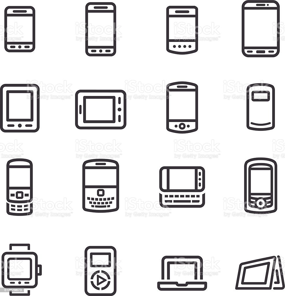 Mobile Devices Icons Line Series Stock Vector Art & More