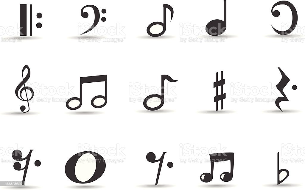 Mobilicious Musical Note Icon Set And Symbols Stock Vector