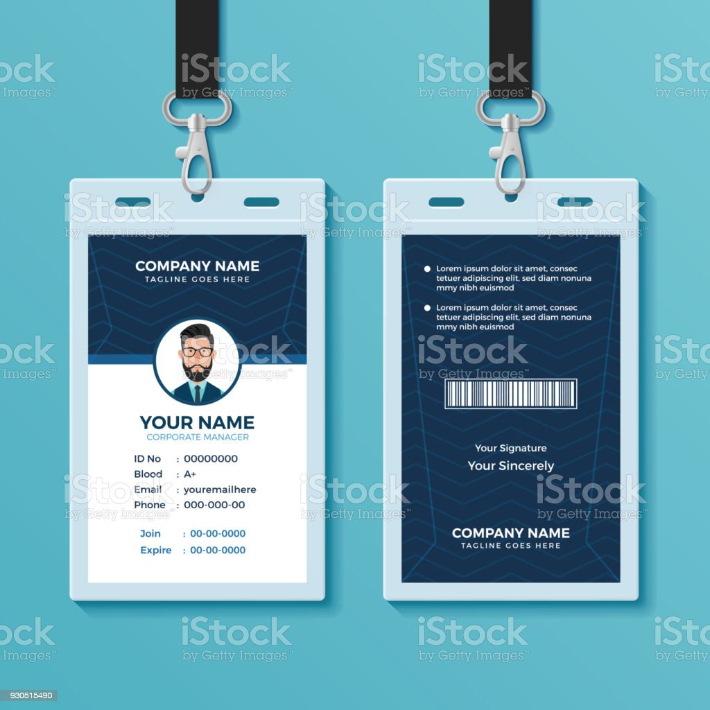 hight resolution of modern and clean id card template illustration