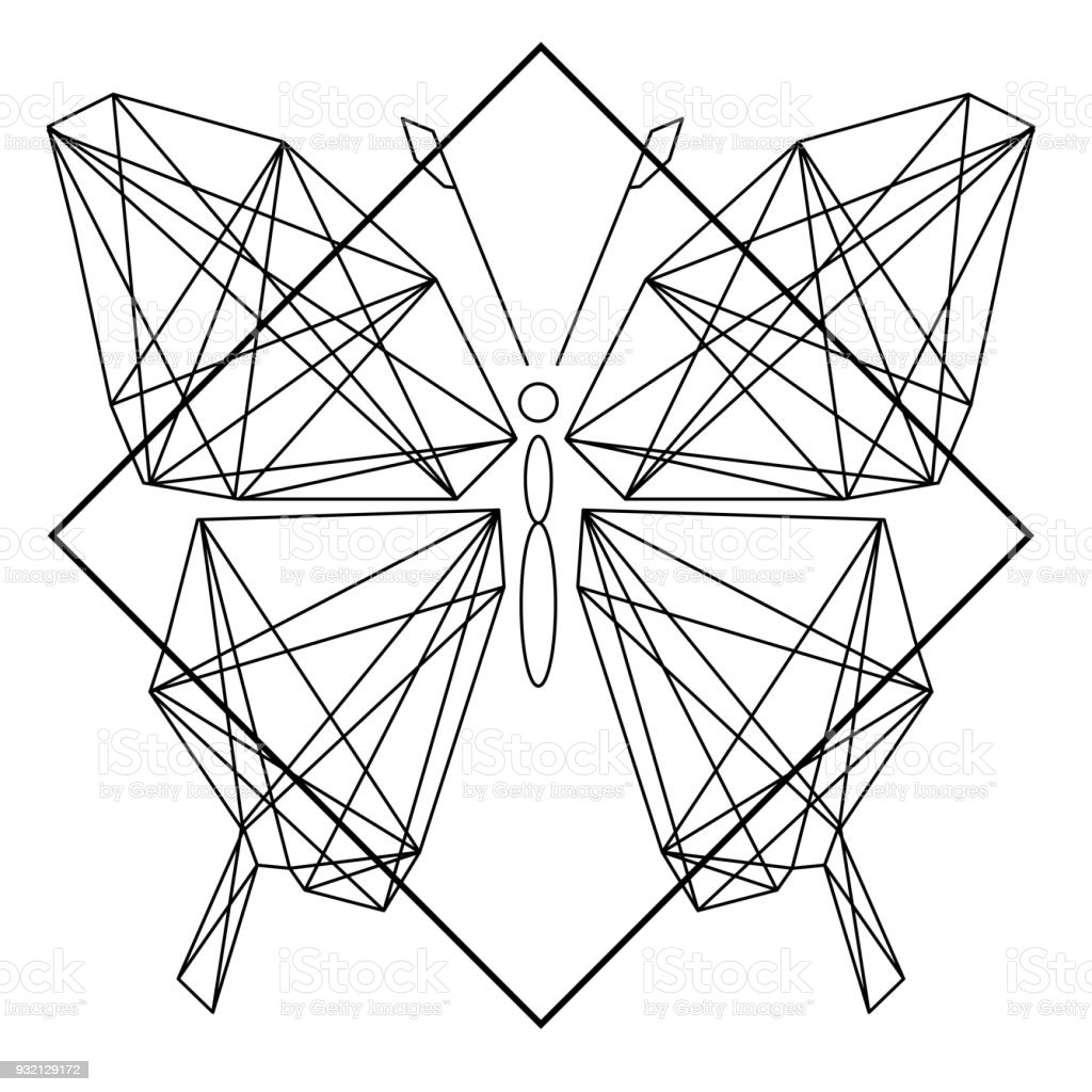 Modern Geometry Butterfly Tattoo Design Vector Image
