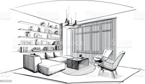 interior sketch living modern vector illustrations illustration abstract clip architecture interiors royalty decor furniture apartment making graphics vectors russia