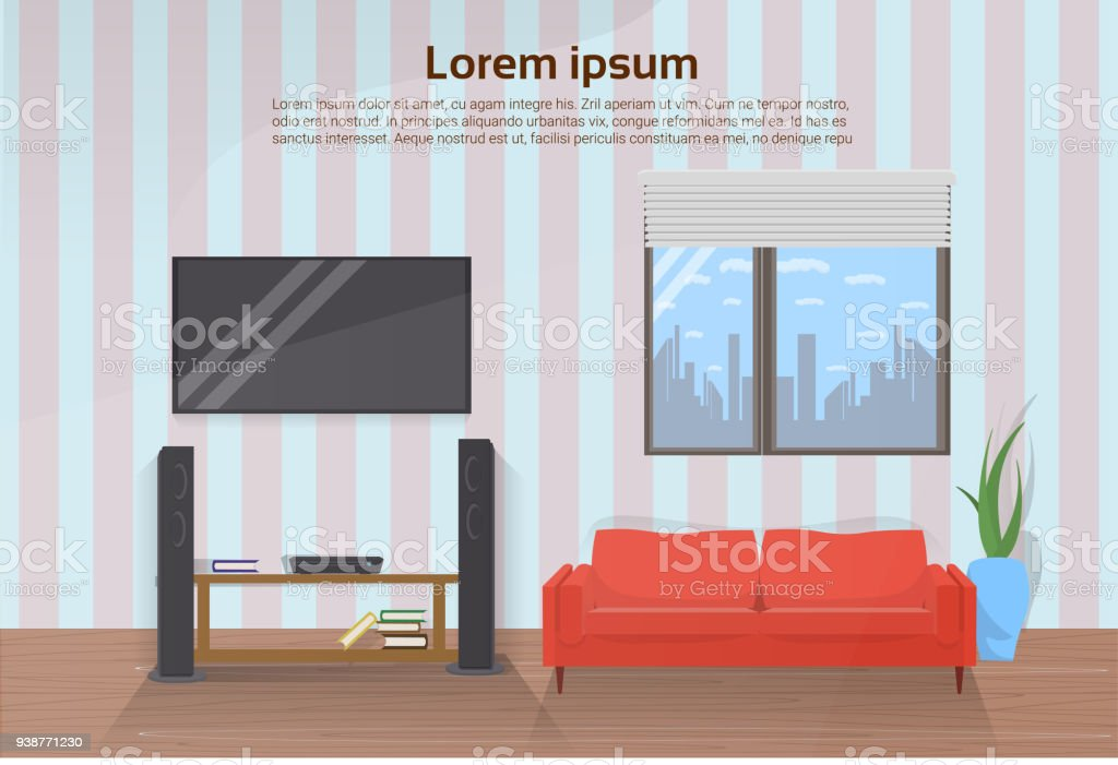 red couch in living room picture ideas modern interior with and big led televison set on wall royalty