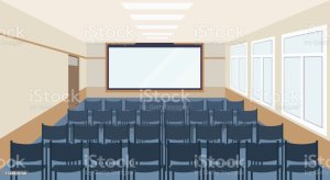 conference background classroom meeting interior presentation modern chairs lecture hall illustrations seminar empty vector clip royalty capacity blank sitting screen
