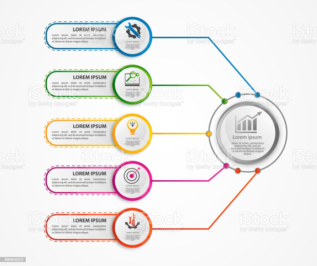 hight resolution of modern vector illustration 3d a circular infographic template with five elements and a circle in