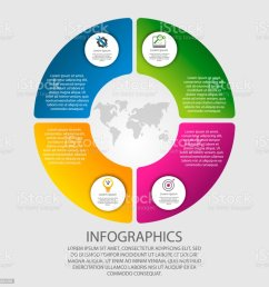 modern vector illustration 3d template of circular infographics with four elements sectors and percentages [ 1024 x 1024 Pixel ]