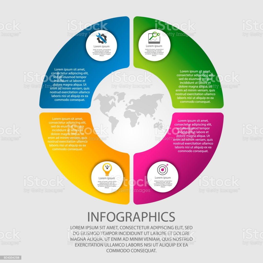 hight resolution of modern vector illustration 3d template of circular infographics with four elements sectors and percentages