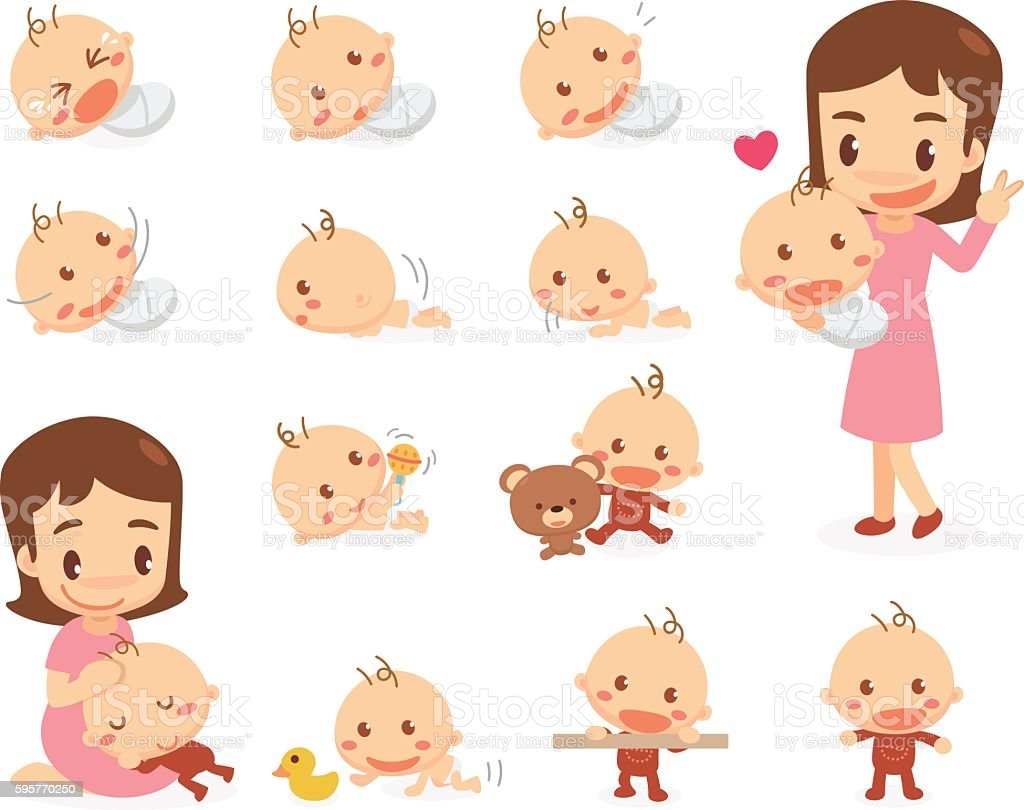 Mom And Baby Baby Development Stages Stock Vector Art More Images Rh  Istockphoto Com Growth Chart Clip Art Baby Reflexes