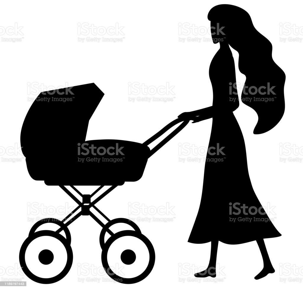 maman avec une poussette noir et blanc vecteurs libres de droits et plus d images vectorielles de adulte istock
