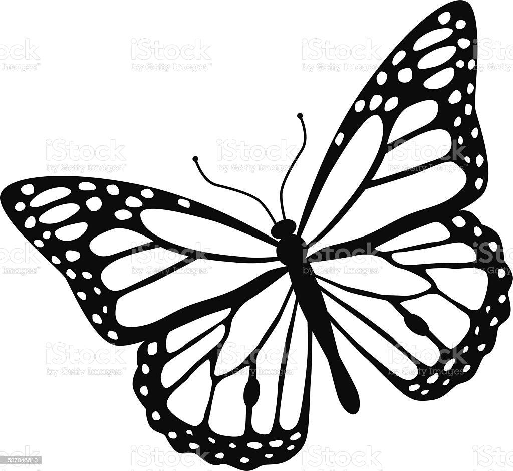 Mariposa Monarca En Blanco Y Negro Illustracion Libre de