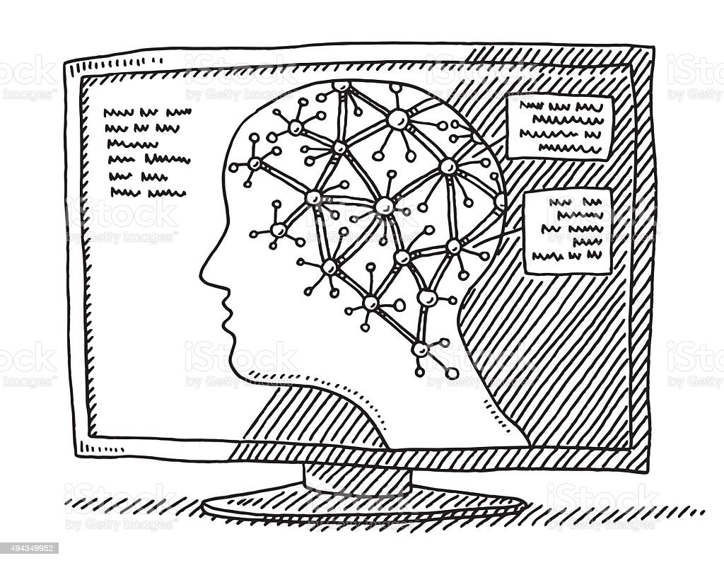 Monitor Healthcare Neurology Network Head Drawing Stock