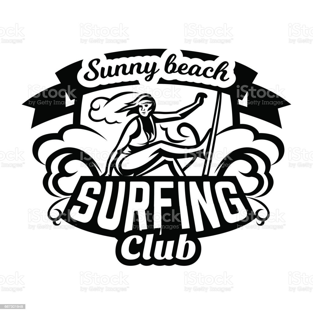Monochrome Icon Emblem Girl Surfer Surfing On The Waves